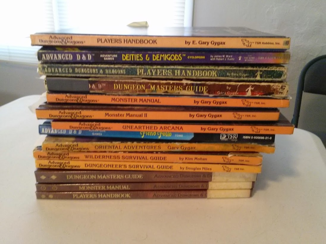 My Stack Of AD&D Manuals Less One PH And one DDG