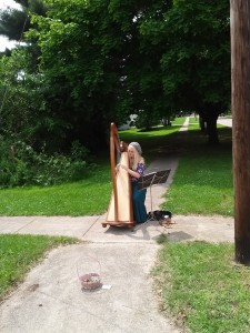 Harpist on the corner.