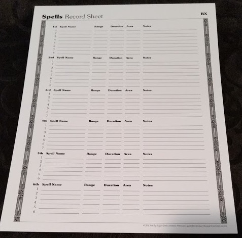 Spell Record Sheet