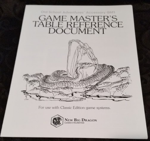 GM's Table Reference Document