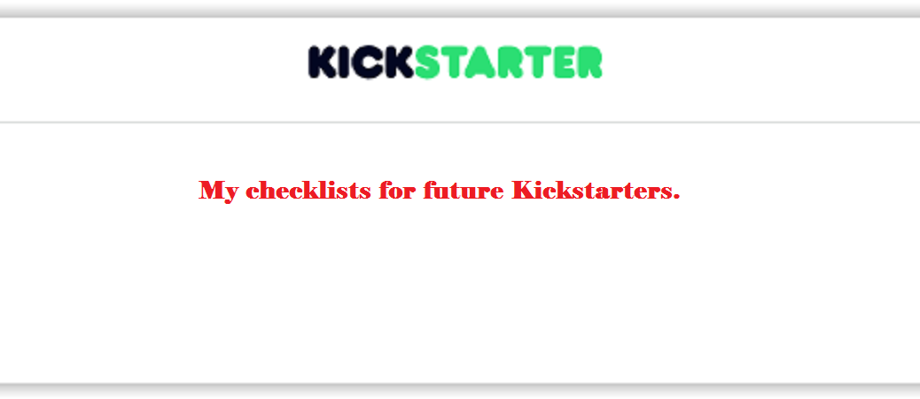 Kickstarter Checklists