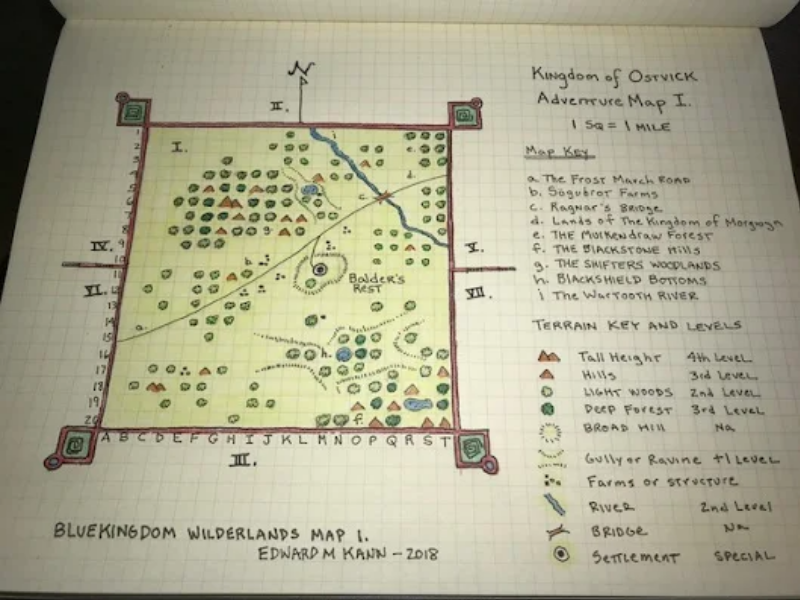 Edward Kann's map of the contents of a 20 mile hex at 1 mile per square.
